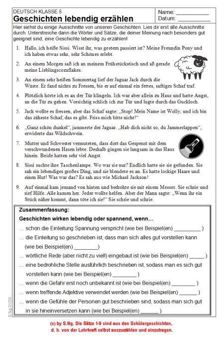 material 1 ab was eine geschichte spannend macht - Erlebniserzahlung 5 Klasse Gymnasium Beispiel