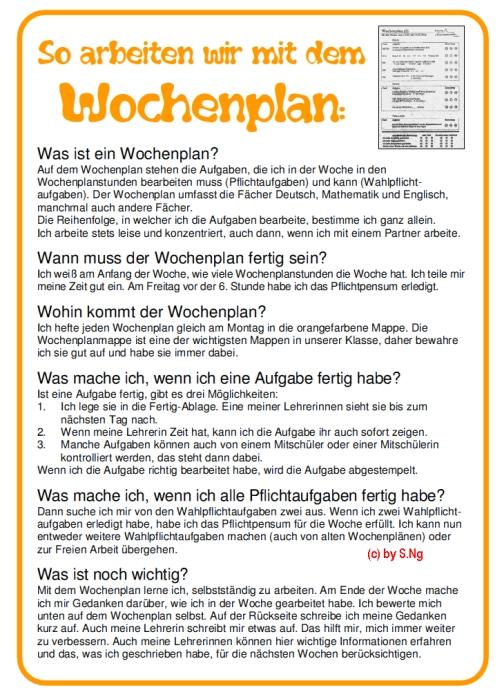 """Plakat """"Wochenplan"""" für das Klassenzimmer"""